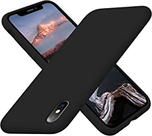 Cordking iPhone Xs Max Cases, Silicone Ultra Slim Shockproof Protective Phone Case with [Soft Anti-Scratch Microfiber Lining], 6.5 inch, Black