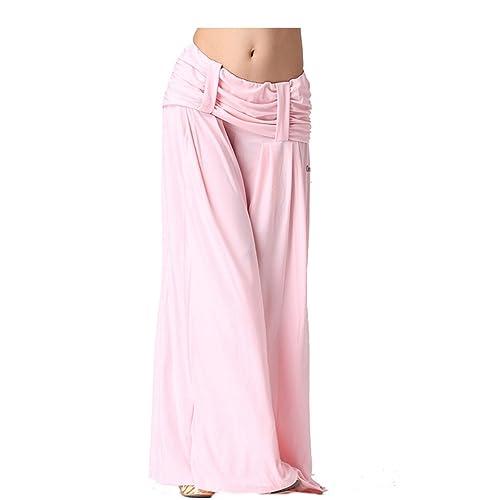 Womens Ladies harén danza del vientre pantalones con trabillas de cinturón Yoga Pilates Stretch práctica pantalones