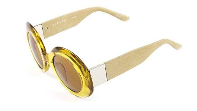 8b623ab17f3d Linda Farrow Women s Round Sunglasses 45mm Ochre Taupe Leather at ...