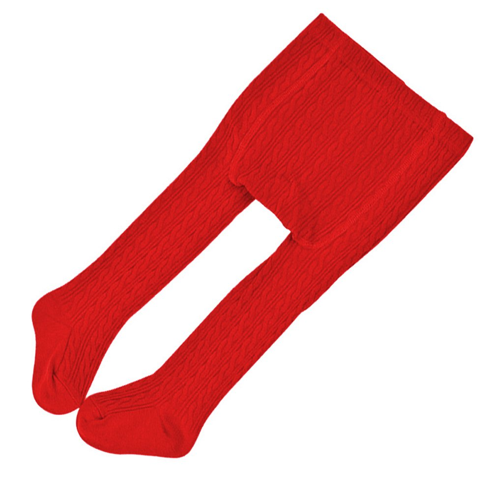 LOHKIAO Baby Knit Cable Footed Tights for Girl