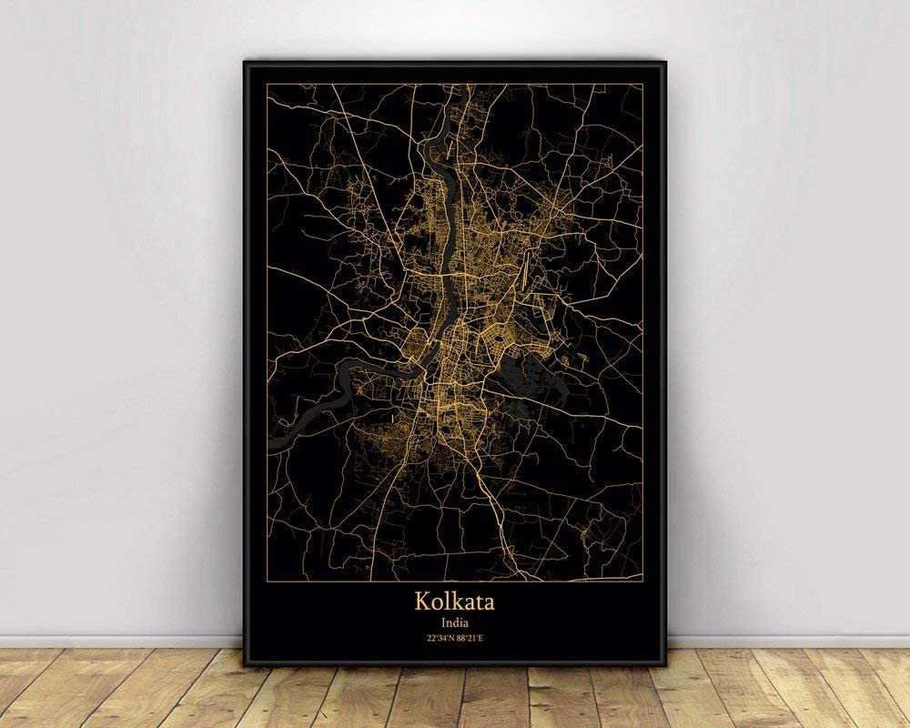 LucklyingBao Print On Canvas Kolkata India Black Gold City Light Maps Custom World City Map Posters,Modern Simple Retro Art Picture Home Decoration, for Living Room Bedroom,No Frame 50×70Cm