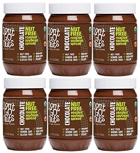 Don't Go Nuts Nut-Free Non GMO Organic Roasted Soybean Spread, Chocolate, 6 Count