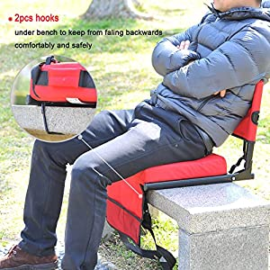 Sheenive Stadium Seat - Wide Padded Cushion Stadium Chairs Seats for Outdoor Bench Bleachers with Leaning Back Support and Shoulder Strap - Perfect For NFL & Baseball etc Games, Red