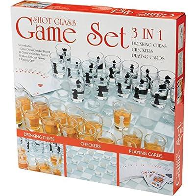 Maxam SPCHESS2 3-in-1 Shot Glass Chess Set: Kitchen & Dining