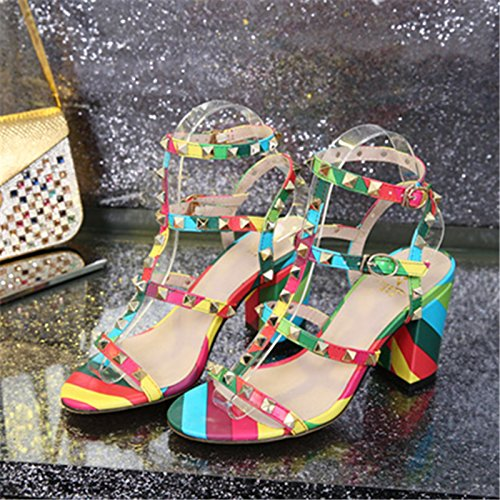 Chris-T Chunky Heels for Womens Studded Slipper Low Block Heel Sandals Open Toe Slide Studs Dress Pumps Sandals 5-14 US B07FFRYWZM 7 B(M) US|Multicoloured/9cm/Slingback