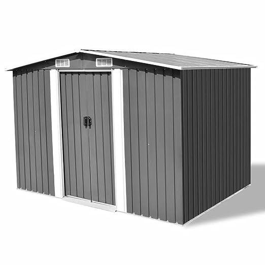 Chloe Rossetti - Cobertizo de almacenamiento para jardín, color gris metal, 25, 4 x 20, 32 x 182, 88 cm, con techo: 101, 2