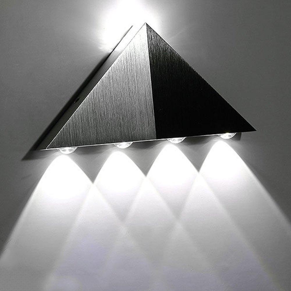 Lemonbest Modern Triangle 5W LED Wall Sconce Light Fixture Indoor Hallway Up Down Wall Lamp Spot Light Aluminum Decorative Lighting for Theater Studio Restaurant Hotel (Cool White)