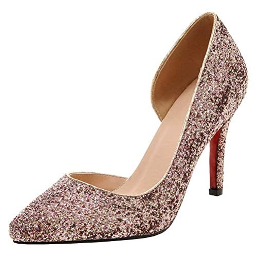 Coolulu Damen Glitzer Pumps Spitz Stiletto High Heels mit