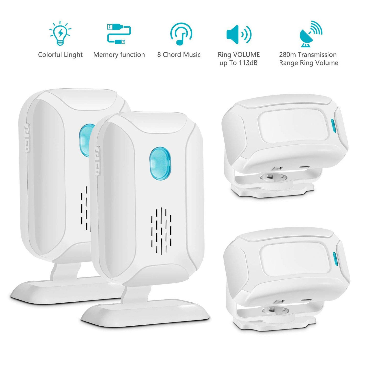 GREENCYCLE Motion Sensor Alarm/Doorbell/Alert, Home Security Driveway Alarm, Store Welcome Entry Chime,eldercareRange at 918ft 36 Chime Melodies (2 Receiver & 2 Motion Sensor)