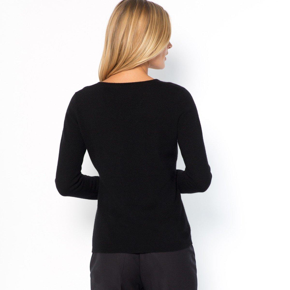 La Redoute Womens Fine Knit Cashmere V-Neck Jumper/Sweater Black Size Us 16/18 - Fr 46/48 by La Redoute (Image #2)