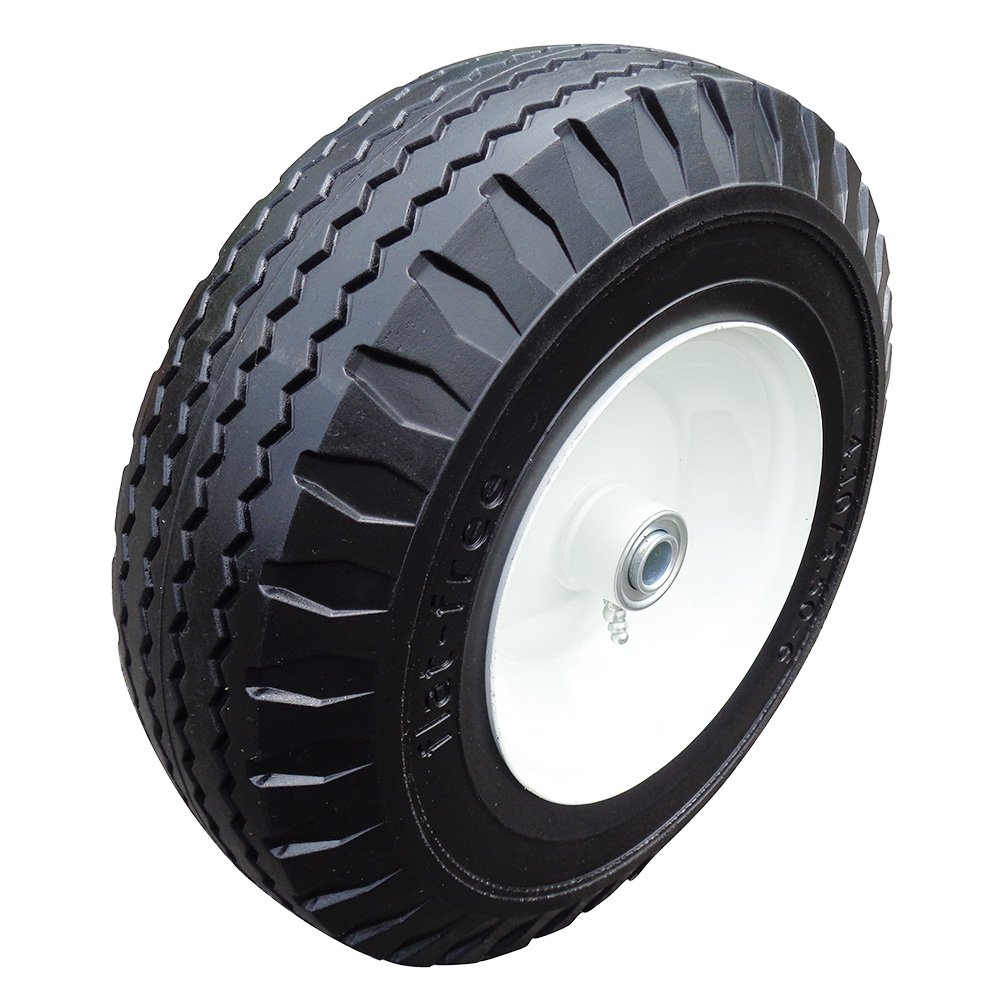 Fortitude Machines 2-Pack 4.10/3.50-6'' Flat Free Tire with Steel Rim, 3'' Centered Hub 5/8'' Ball Bearings Flat Free Hand Truck Tire on Wheel