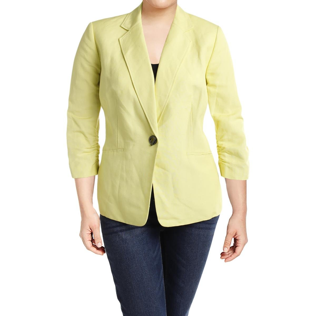 Kasper Womens Plus Linen Blend 3/4 Sleeves One-Button Blazer Yellow 18W