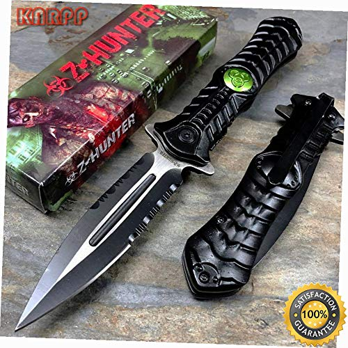 (Black Biohazard Logo Outdoor Zombie Knife Rescue Survival Pocket Knife - Outdoor Camping perfect For Hunting EDC EMT)