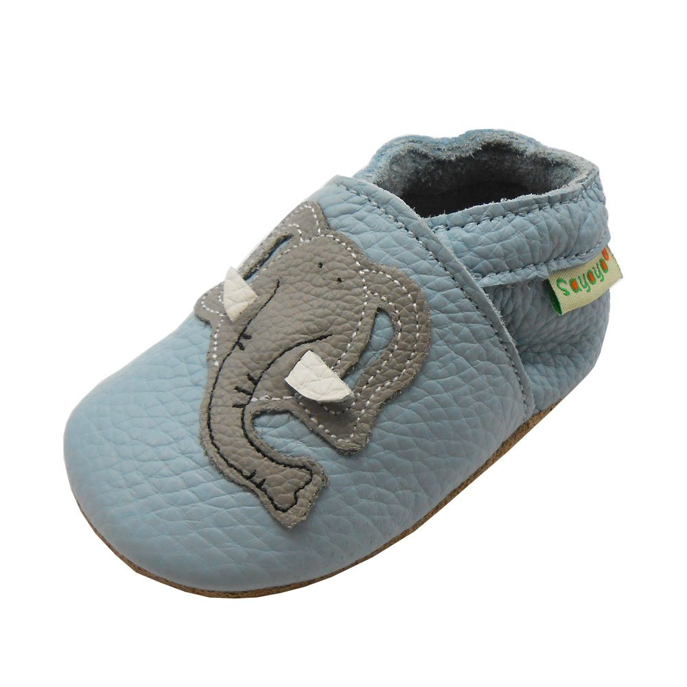 Sayoyo Soft Sole Leather Baby Shoes Baby Moccasins Cute Elephant(3-6 Months, Blue) Bai Shu 10061