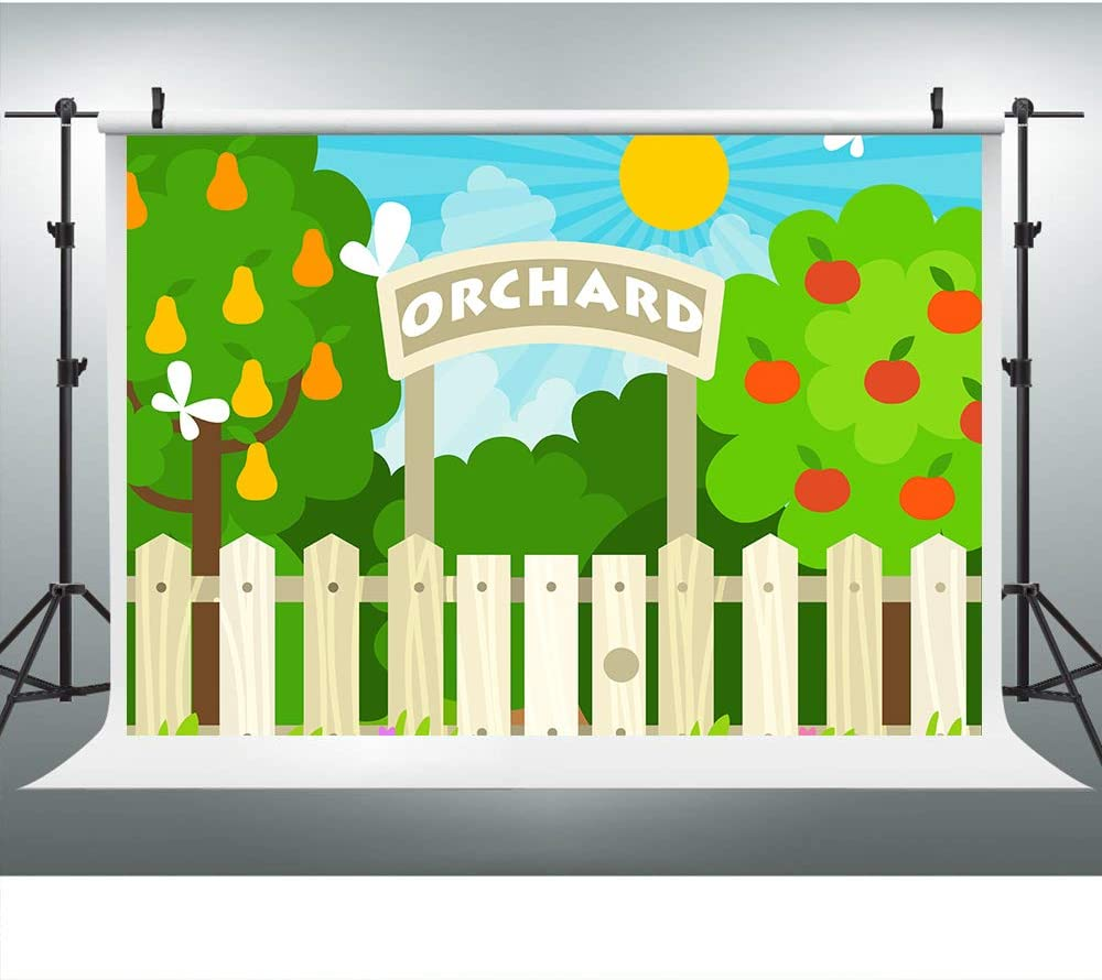 Cartoon Orchard Apple Pear Tree Eden Garden Backdrop for Birthday Baby Shower Photography, 9x6FT, Wood Fence Sunshine Blue Sky Background Cake Table Banner Photo Booth Shooting Props LHLU807