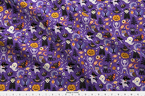 Spoonflower Halloween Fabric Happy Halloween by Penguinhouse Printed on Fleece Fabric by The -