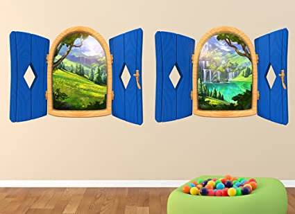 2 magical forest large window wall decals