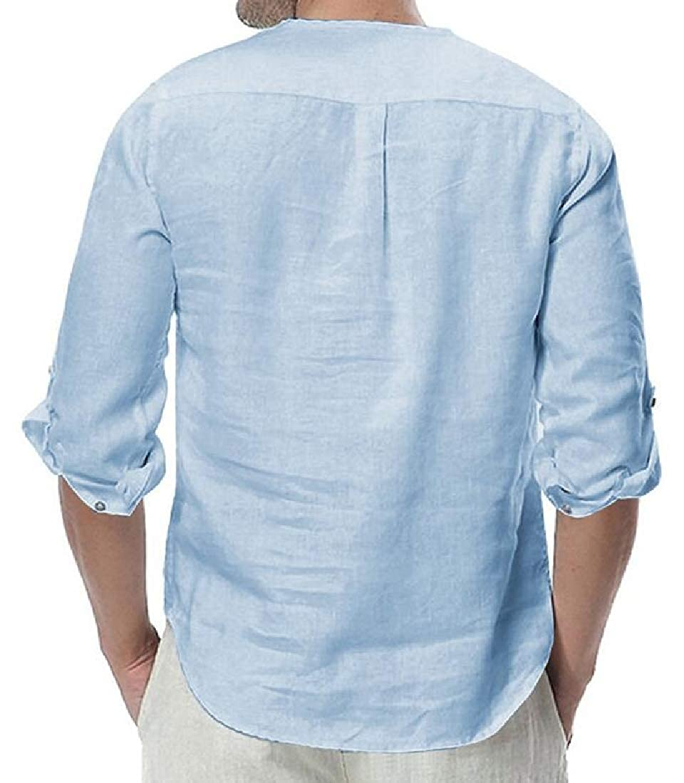 Keaac Men Cotton Linen Long Sleeve Button up Solid Color Shirts Tops Blouses