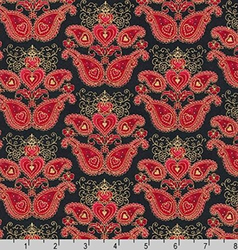 Kaufman-Peggy Toole 'Sweetheart' Red Designs on Black Cotton Fabric - 3 Yards 20 Inches