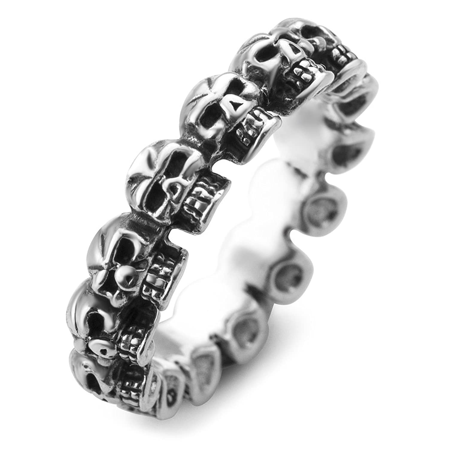 925 Sterling Silver Vintage Gothic Multi Skull Head Band Ring Men Women Unisex Size 6, 7, 8
