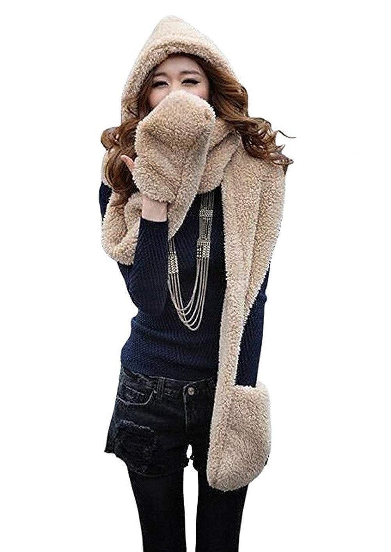 b343b273ce01 Landove Ensemble Bonnet Echarpe Gant Femme Fille Mode Mignon 3 en 1 Écharpe  Châle à Chapeau