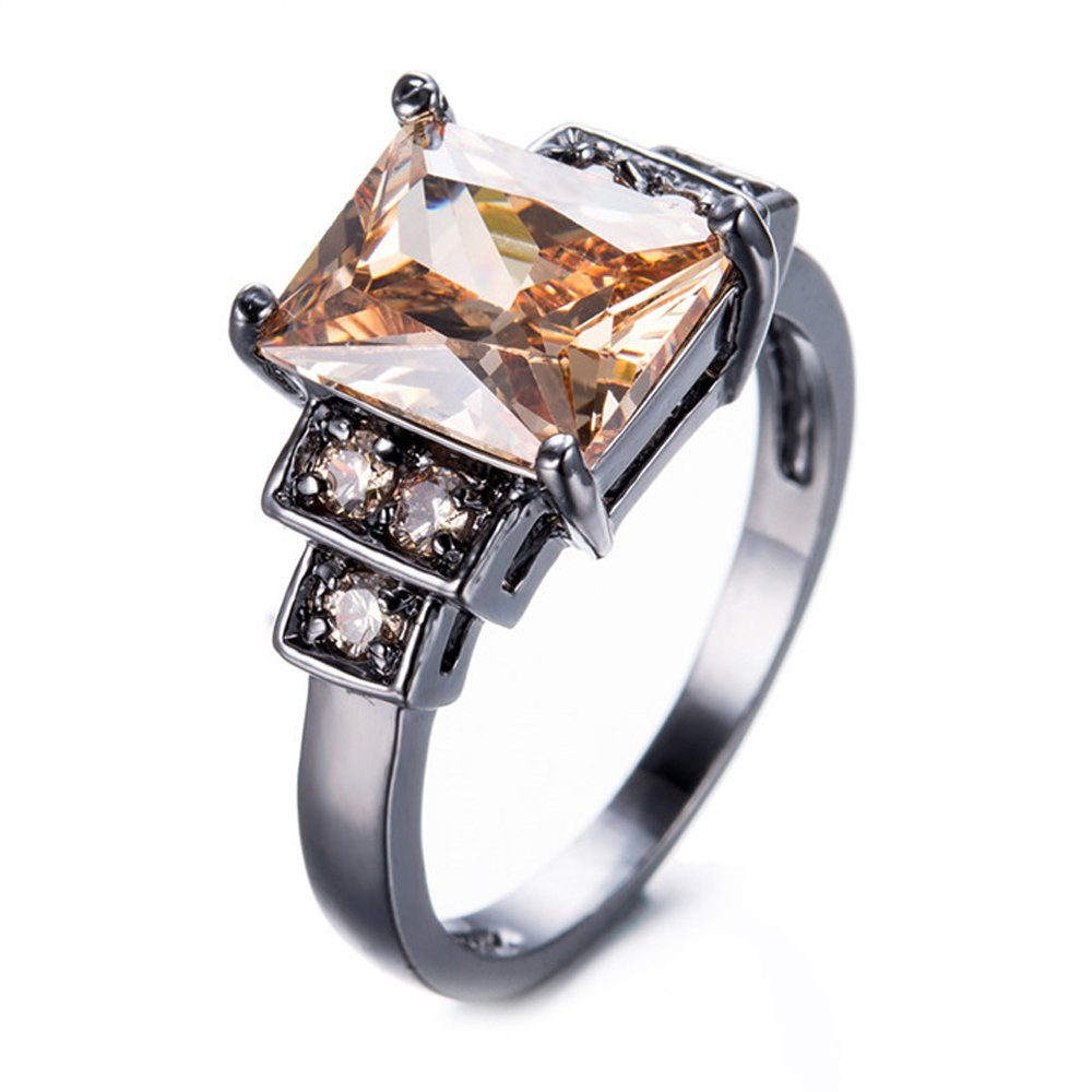 F/&F Ring Champagne Zircon Rings Vintage Black Gold Filled Jewelry for Women Wedding Engagement Rings