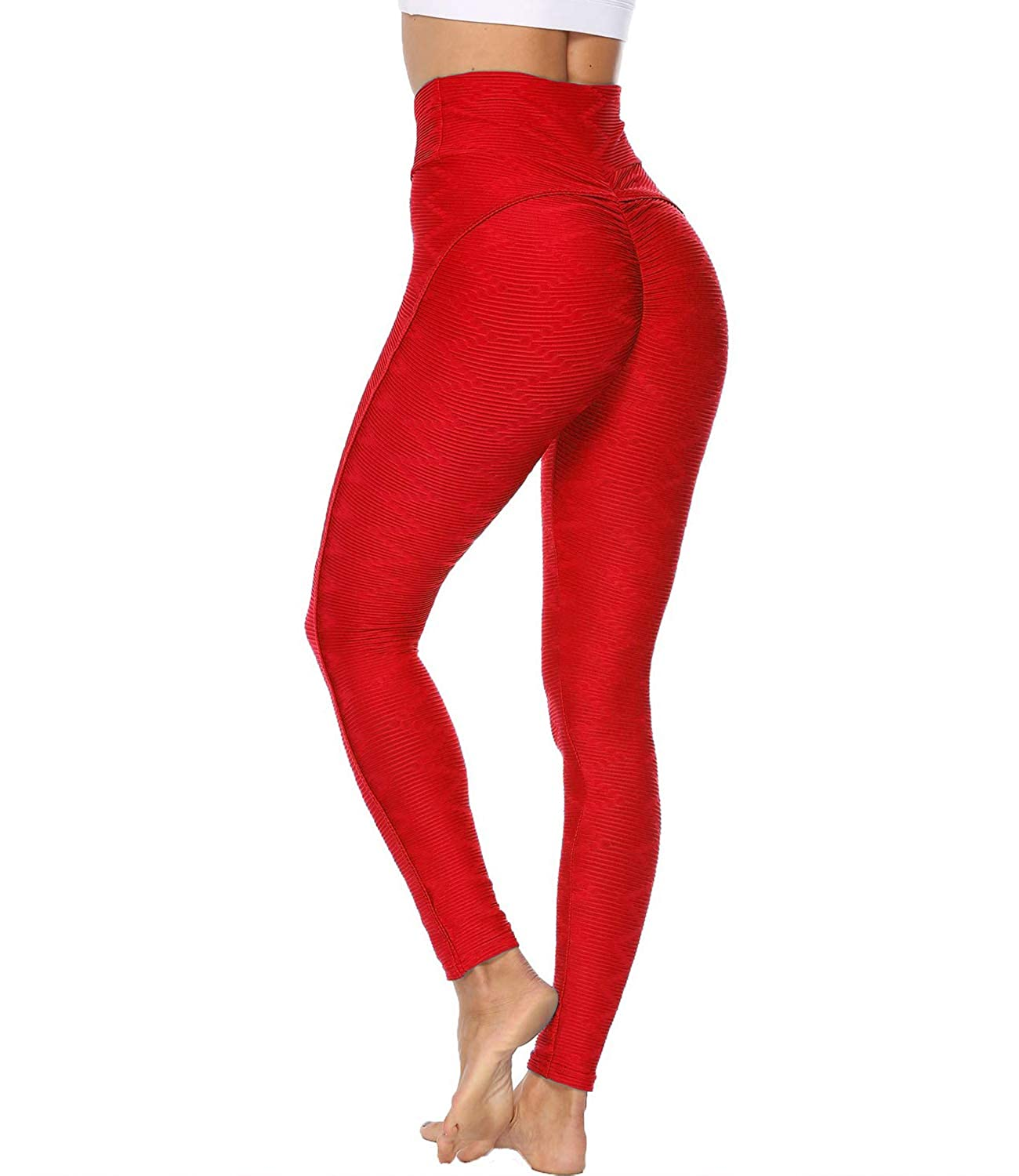 STARBILD Womens High Waist Ruched Butt Lifting Yoga Pants Tummy Control Stretchy Leggings Booty Textured Workout Tights