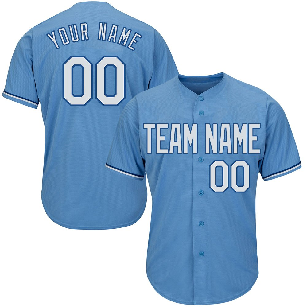 Custom Men's Light Blue Full Button Baseball Jersey with Stitched Team Name Player Name and Numbers,White-Navy Size S