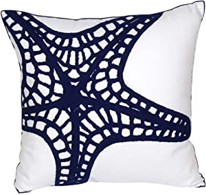 DECOPOW Embroidered Nautical Decor Pillow Covers,Square 18 Inches Decorative Canvas Pillow Cover for Nautical Style Deco by (Navy-Starfish-New)