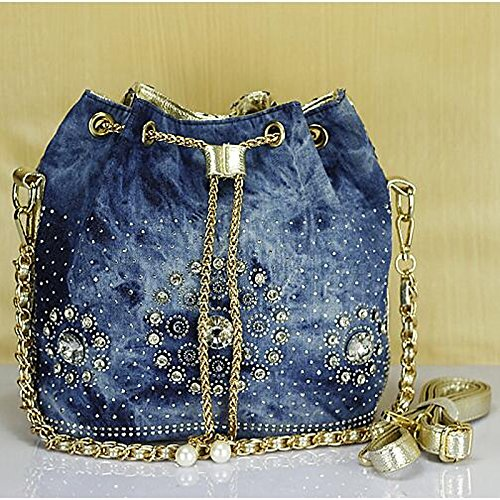 Beading Women's Leather Bag Crystals Denim Gmyan Silver Gold Bags Shoulder Pu BHxdxF0wq