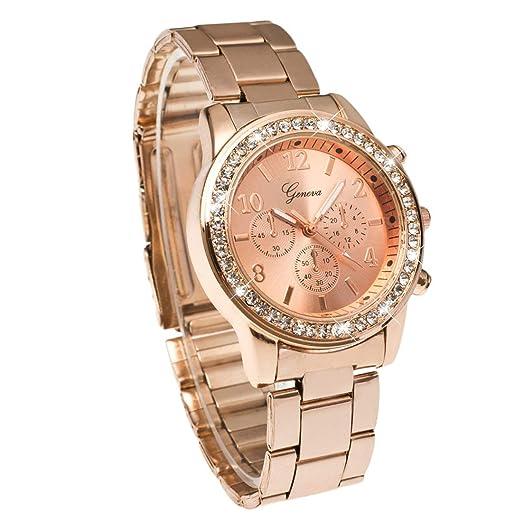 Atractivo Lujo Geneva Bling Crystal Women Unisex Reloj de Pulsera de Cuarzo de Acero Inoxidable analógico-Digital para Regalo: Amazon.es: Relojes