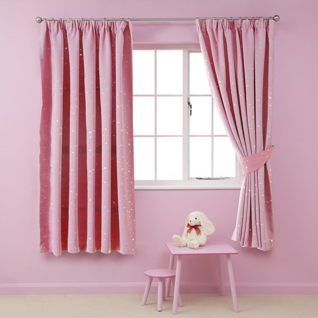H.Versailtex Printed Blackout Pencil Pleat Pair Light Reducing Microfiber Curtains for Children, Thermal Insulated & Warm Protecting, Pink with Silver Stars, 46'' Width x 54'' Drop