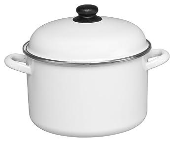 Cinsa 312015 Trend Ware esmalte sobre acero olla con tapa, 7-quart, blanco: Amazon.es: Hogar