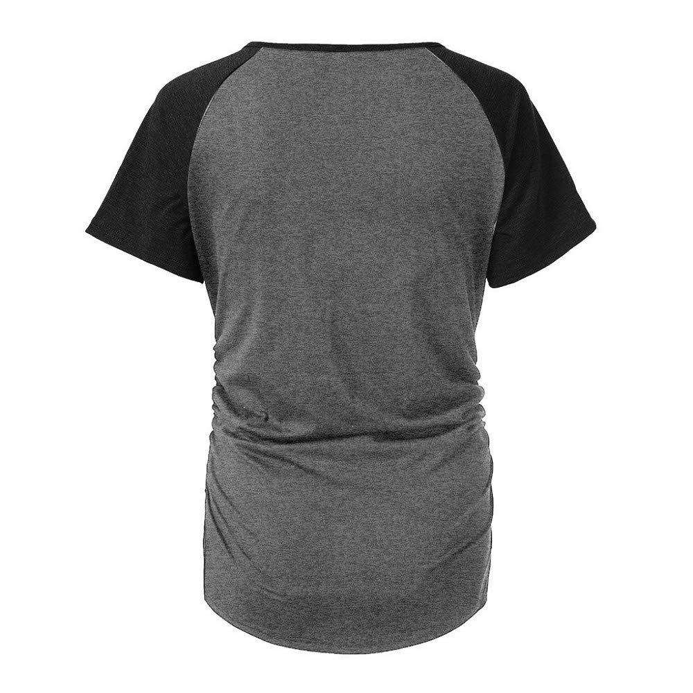 Damen Umstandsmode Knopf Schwangerschaft Kurzarm Umstandsshirt Mutterschafts T-Shirt mit Stillfunktion Patchwork Geraffte Umstandstop mit Motiv Oberteile Basic Sommer Klassische Umstands Oberteile