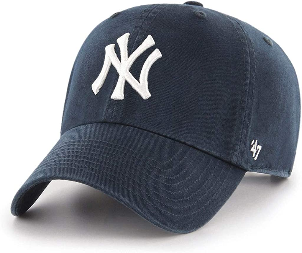 MLB New York Yankees Men's '47 Brand Home Clean Up Cap, Navy, One-Size : Sports Fan Baseball Caps : Clothing