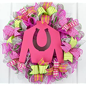 Kentucky Derby Wreath | Jockey Silk Decor | Horse Racing Gift | Pink Yellow Lime Green 70