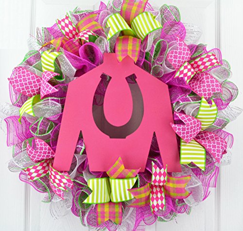 (Kentucky Derby Wreath | Jockey Silk Decor | Horse Racing Gift | Pink Yellow Lime Green)