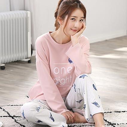 Pijamas de manga larga de algodón para mujer Primavera y otoño moda deportes rosa trajes de