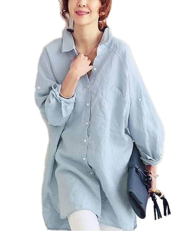 Amazon.com: Moon Soul Women Linen Yards Shirts Casual Loose Fat MM ...