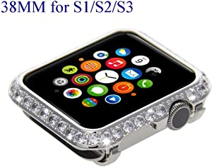Bling Bling Sparkling Diamond Crystal Watch Bezel Cover Case for Apple Watch iWatch S1/S2/S3 Sports & Edition Version Smaller Size 38MM (Non Ceramics) (Platinum Diamond)