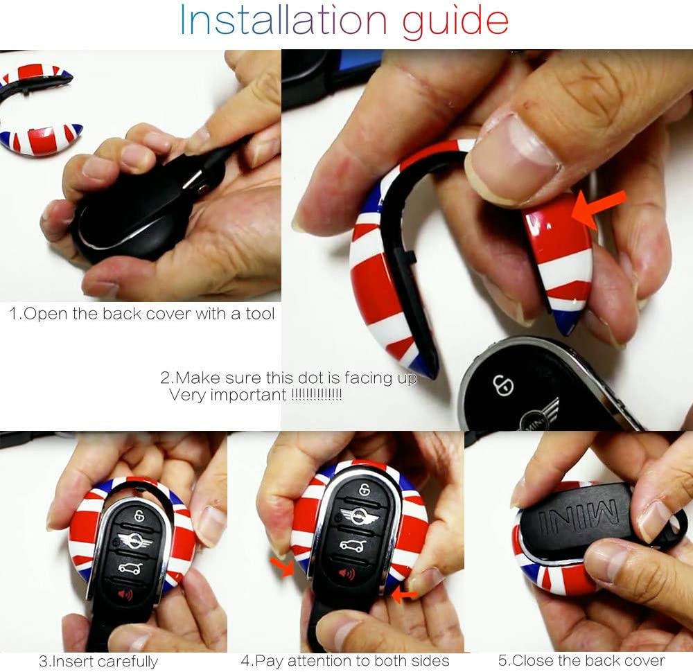 QIDIAN for Mini Cooper JCW F54 F55 F56 F57 F60 Countryman Key Shell Fob Case Cover Chain Rope Keychain Slim Design Alloy Car Styling Accessories