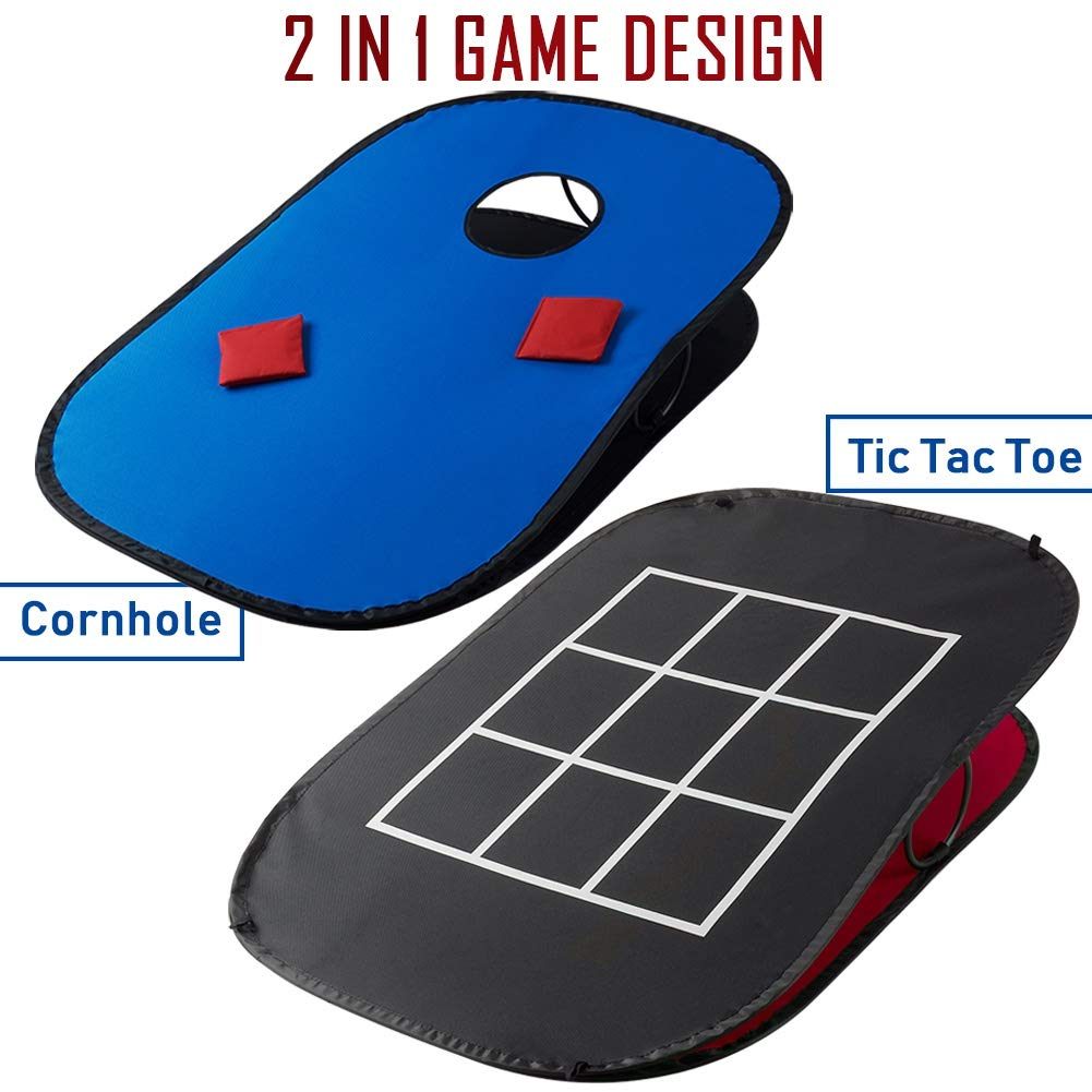 Incredible Juegoal 3X2Ft Collapsible Portable Cornhole Game Set With 2 Cornhole Boards 10 Bean Bags Carrying Bag And Tic Tac Toe Game Indoor Outdoor Yard Toss Onthecornerstone Fun Painted Chair Ideas Images Onthecornerstoneorg