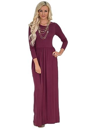 7181018968 Jen Quinn Long Sleeve Modest Maxi Dress in Dark Rose