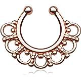 Faux Piercing Septum (Nez) en Acier Chirurgical Rosé et Cristal - Clip