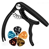 lotmusic Guitar Capo Trigger for Acoustic Electric Classical Guitar Bass Ukulele Banjo Mandolin with 5 Free Picks Black
