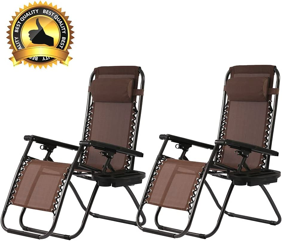 PayLessHere Set of 2 Zero Gravity Chairs with Pillow and Cup Holder Patio Outdoor Adjustable Dining Reclining Folding Chairs