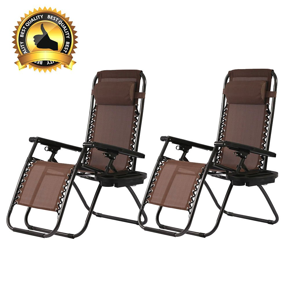 PayLessHere Set of 2 Zero Gravity Chairs with Pillow and Cup Holder Patio Outdoor Adjustable Dining Reclining Folding Chairs by PayLessHere