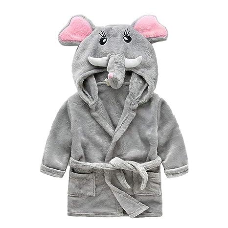 YeahiBaby Albornoz de Niños con Capucha de Dibujos Elefantes Bata de Baño para Disfraces - 100cm
