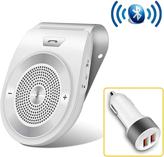 Bluetooth Handsfree Car Speaker Safe Driving for Handsfree Calling with Car Charger Wireless Sun Visor Car Speaker Built-in Mic Hands-Free Motion AUTO-ON Car Kit Support 2 Phones Simultaneously