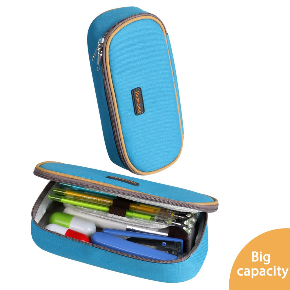 Homecube Pencil Case, Large Pencil Holder with Big Capacity of Practical Stationery for Boys Students (Blue)